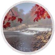 Maple Leaf Frame Round Beach Towel