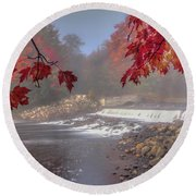 Maple Leaf Frame Ws Round Beach Towel