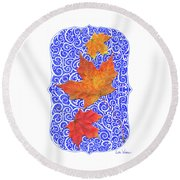 Maple Leaves Round Beach Towel by Lise Winne