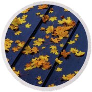 Maple Leaves On A Metal Roof Round Beach Towel