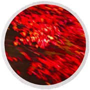 Maple Red Abstract Round Beach Towel