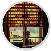 Round Beach Towel featuring the photograph Maple Syrup Window by Tom Singleton