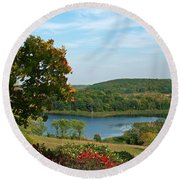 Round Beach Towel featuring the photograph Maplewood State Park by James Peterson