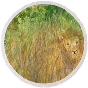 Round Beach Towel featuring the painting Mara The Lioness by Vicki  Housel