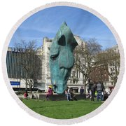 Horse Sniffing The Tourists Farts - Hyde Park Corner 01 - London  Round Beach Towel