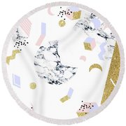 Marble Moon Abstraction Round Beach Towel