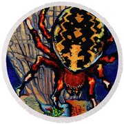Marbled Orbweaver Round Beach Towel
