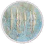 Round Beach Towel featuring the painting Marbled Yachts by Valerie Anne Kelly