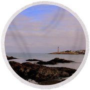 Marblehead Harbor And Light Round Beach Towel