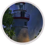 Marblehead In Starlight Round Beach Towel by Joan Bertucci