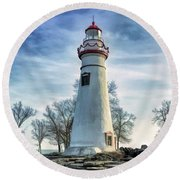 Round Beach Towel featuring the painting Marblehead Lighthouse by Christopher Arndt