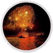 Round Beach Towel featuring the photograph Marblehead Fireworks by Jeff Folger