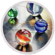 Marbles 3 Round Beach Towel