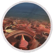 Round Beach Towel featuring the painting Marbletropolis by Dave Luebbert