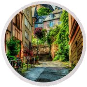Round Beach Towel featuring the photograph Marburg Alley by David Morefield