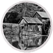 Round Beach Towel featuring the photograph Marby Mill In Black And White by Paul Ward