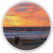 March 23 Sunrise  Round Beach Towel