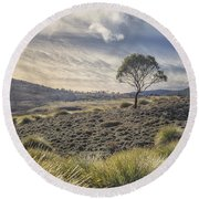 March Across The Endless Plain Round Beach Towel