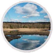 March Afternoon At Black Creek Round Beach Towel