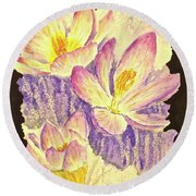 March Crocus Round Beach Towel