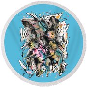 March Hares Round Beach Towel