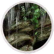 Round Beach Towel featuring the photograph March Icicles 2 by Mike Eingle