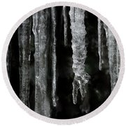 Round Beach Towel featuring the photograph March Icicles by Mike Eingle