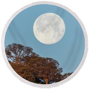 Round Beach Towel featuring the photograph March Moonset by Marc Crumpler