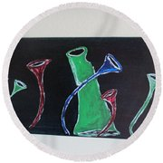 Round Beach Towel featuring the painting March Of The Wine Brigade by Sharyn Winters
