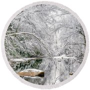 March Snow Along Cranberry River Round Beach Towel by Thomas R Fletcher