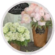 Round Beach Towel featuring the painting Marche Aux Fleurs 2 - Peonies N Hydrangeas by Audrey Jeanne Roberts