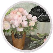 Round Beach Towel featuring the painting Marche Aux Fleurs 2 - Peonies N Hydrangeas W Bird by Audrey Jeanne Roberts