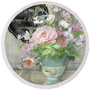 Round Beach Towel featuring the painting Marche Aux Fleurs 3 Peony Tulips Sweet Peas Lavender And Bird by Audrey Jeanne Roberts