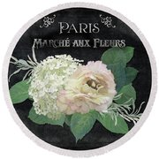 Marche Aux Fleurs 4 Vintage Style Typography Art Round Beach Towel by Audrey Jeanne Roberts