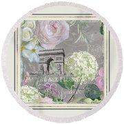 Marche Aux Fleurs Vintage Paris Arc De Triomphe Round Beach Towel