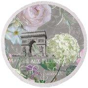 Round Beach Towel featuring the painting Marche Aux Fleurs Vintage Paris Arc De Triomphe by Audrey Jeanne Roberts
