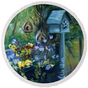 Marcia's Garden Round Beach Towel by Donna Tuten