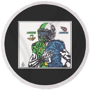 Marcus Mariota Crossover Round Beach Towel by Jeremiah Colley