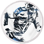 Round Beach Towel featuring the mixed media Marcus Mariota Tennesse Titans Pixel Art 2 by Joe Hamilton