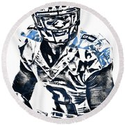 Marcus Mariota Tennessee Titans Pixel Art 3 Round Beach Towel by Joe Hamilton