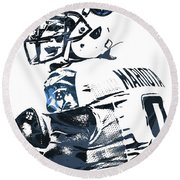 Round Beach Towel featuring the mixed media Marcus Mariota Tennessee Titans Pixel Art by Joe Hamilton