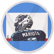 Marcus Mariota Titans 2 Round Beach Towel by Jeremiah Colley