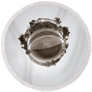 Round Beach Towel featuring the photograph Marcy Casino - Tiny Planet by Chris Bordeleau