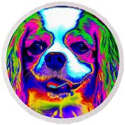 Mardi Gras Dog Round Beach Towel