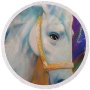 Mardi Gras Horse Round Beach Towel by Julianne Ososke