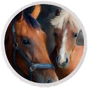 Mare And Foal Round Beach Towel