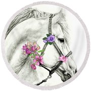 Mare With Flowers Round Beach Towel