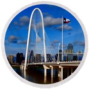 Margaret Hunt Hill Bridge Dallas Flood Round Beach Towel