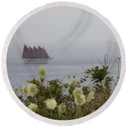 Round Beach Towel featuring the photograph Margaret Todd Sailing On A Foggy Evening by Living Color Photography Lorraine Lynch