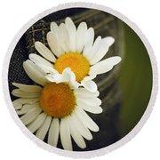 Margarite Flowers Round Beach Towel
